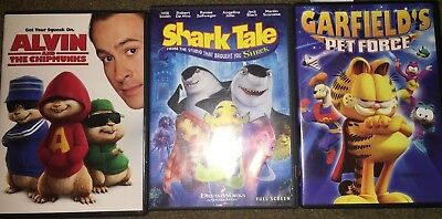 Kid's DVD Variety Mix -Alvin and the Chipmunks, Shark Tale, Garfield's Pet