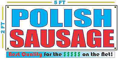 POLISH SAUSAGE Banner Sign NEW Larger Size Best Quality for The $$$ Fair Food