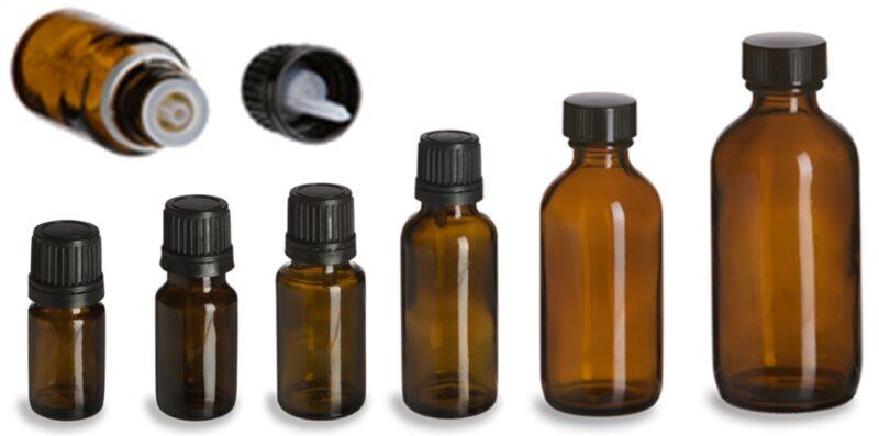 Amber Glass Bottles - 5 mL - 10 mL - 15 mL - 30 mL - 2 oz - 4 oz - With Caps!