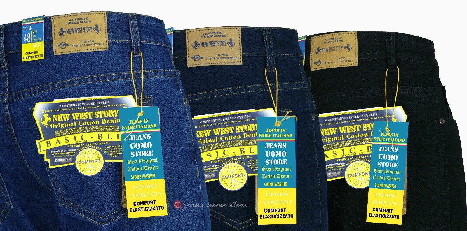 Jeans uomo regular pantaloni Cotone denim elasticizzato Taglie Forti da 46 64