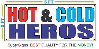 Hot Cold Heros Banner Sign New Size For Restaurant Stand Trailer Truck Shop