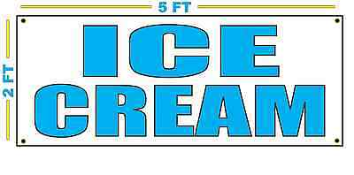 Ice Cream In Cyan Banner Sign New Size For Stand Truck Or Parlor