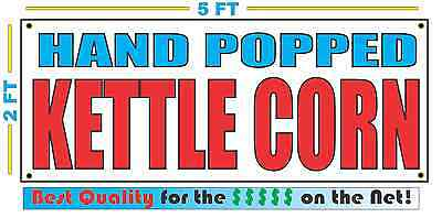 HAND POPPED KETTLE CORN Banner Sign NEW Larger Size Best Quality for The