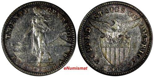 Philippines U.S. Administration Silver 1910 S 20 Centavos KM# 170 (17 402)