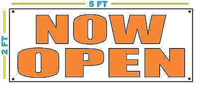 Now Open In Orange Banner Sign New Size