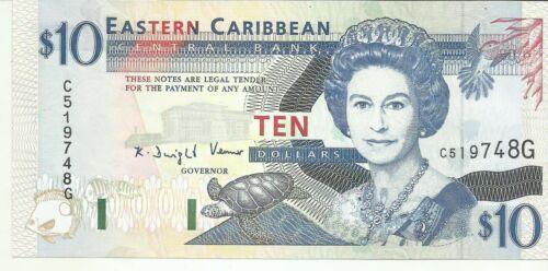 EASTERN CARIBBEAN 10 DOLLARS 1994  P 32. GRENADA. UNC CONDITION. 8RW 25OCT