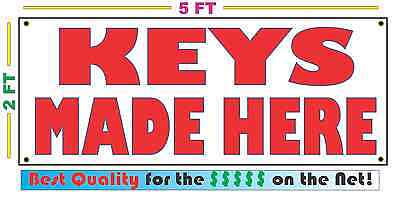 KEYS MADE HERE Full Color Banner Sign NEW Larger Size Best Price on the Net!