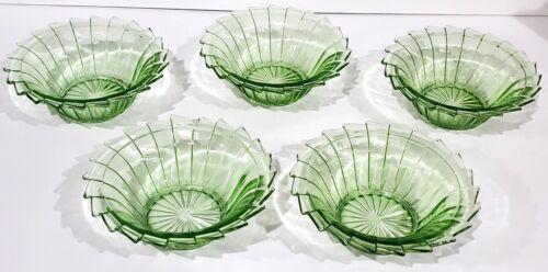 Jeannette SIERRA GREEN Pinwheel Set of 5 Cereal Bowls Uranium Depression Glass