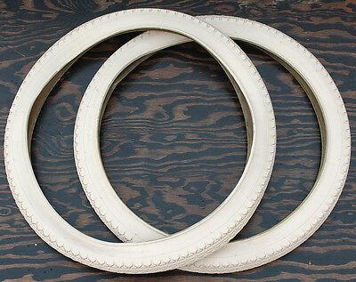 Prewar Cream White Goodyear Vintage Schwinn Bike 24x2.125 Tires Cruiser Bicycle