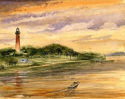 Jupiter Inlet Lighthouse - Jupiter Inlet Lighthouse Sunset, Florida. Gerald C. Hill Watercolor Art Prints