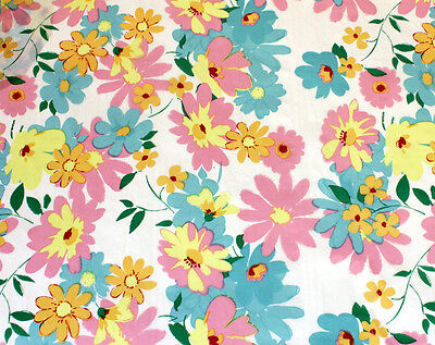 Pastel Flowers on White Tissue Paper # 327 -- 10 Large Sheets Pastel Tissue Paper