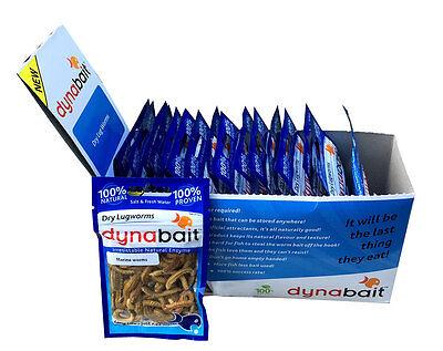 Dynabait Lug worms 20 x ( dehydrated fishing tackle, bait, 2 years shelf life)