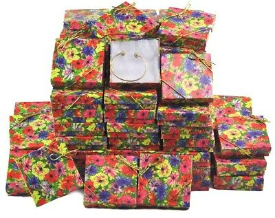 Lot Of 100 Floral Cotton Filled Box Jewelry Gift Boxes Bracelet Box 3.5x3.5 Hot