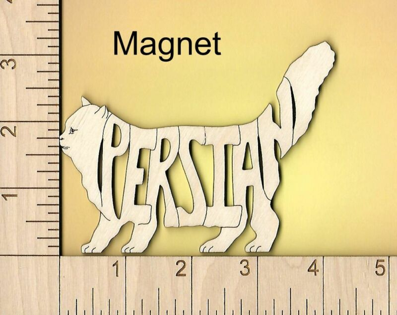 Persian Cat laser cut and engraved wood Magnet Great Gift Idea
