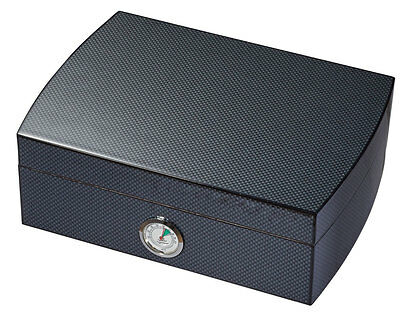 Black Carbon Fiber Cigar Cedar Lined Desktop Humidor External Hygrometer