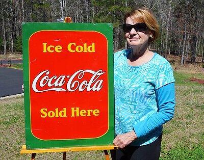 "VINTAGE 1938 COCA COLA SODA ""ICE COLD"" SOLD HERE SIDEWALK SIGN"