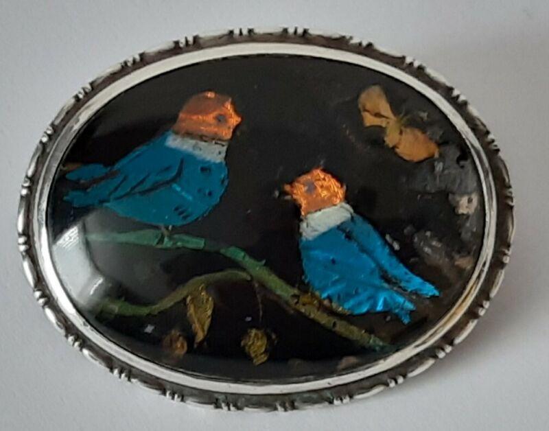 Antique Art Deco Oval Silver Butterfly Wing Brooch -  Lovebirds