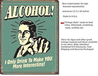 Alcohol TIN SIGN funny beer vtg/retro bar ad garage wall decor metal poster 1329