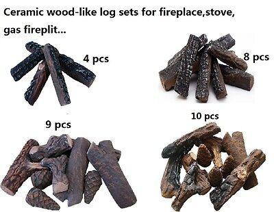 Fireplace  Stoves  Gas Firepit Wood Like Ceramic Decorative Log Set 4 8 9 10Pcs