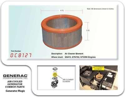 Generac 0C8127 OEM RV Guardian Generator Air Filter - Air-Cleaner Element Part