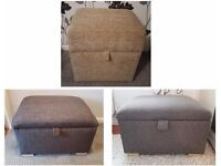 BRAND NEW FABRIC STORAGE FOOTSTOOL / POUFFE available in GREY, BROWN & OATMEAL colours