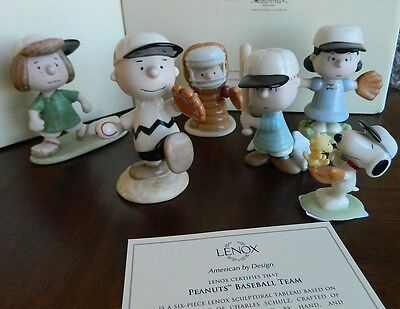 Lenox The Peanuts Gang Baseball Team Set! Peppermint Patty Schroeder Snoopy NEW