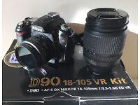Nikon D90 Digital SLR Camera - with AF-S DX 18-105mm, AF 50mm 18d lens & Crumpler Pizza bag