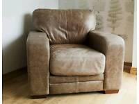 Vintage, distressed aniline leather armchair
