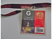 Collectable 2010 Ryder Cup Lanyard with Course Ticket dated Tuesday 28th September 2010