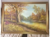 Tree , lake oil painting in gold colour frane