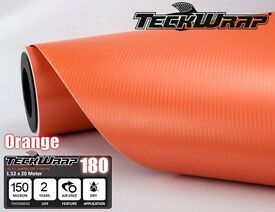 3D Orange Carbon Fibre Vinyl Car Wrap All sizes 1 x 1.5 meter to 20 x 1.5 meters