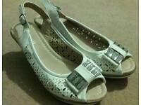 Lilly Lilya white wedges with diamante detail