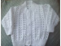 COTTON HAND KNIT BABY CARDIGAN, pure white, Lacey pattern, size 16 - 18 inch chest