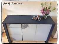 Modern Very Solid Chest / Sideboard & Matching Bedside Table Hand Painted Blue Grey Mineral Paint