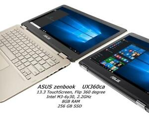 ASUS ZENBOOK UX360CA  FLIP with TOUCHSCREEN Intel  m3-6Y30 2.2 ghz 8GB RAM, 256GB SSD, has Office PRO 2016