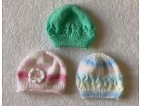 Baby Girl Hand Knitted Hats 3 - 6 Months