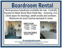 Multi-purpose boardroom available for rent.