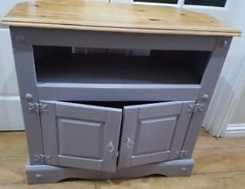 **** solid wood heavy GREY Storage TV Unit **** ex con smoke free home
