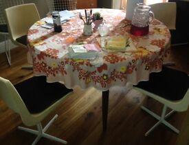 4x white dining chairs tulip design retro