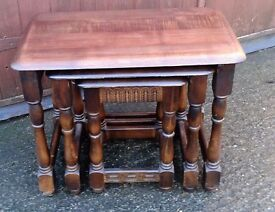 Priory Solid nest of tables in dark oak set of 3 coffee side tables carved