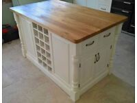 Solid Pine Island Unit with Rustic Oak Worktop