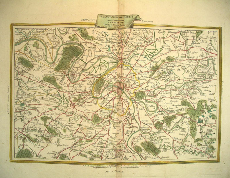 1776 Genuine Antique Hand Colored Map Paris, France. Antonio Zatta