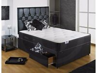 【BRAND NEW】DOUBLE BLACK DIVAN BASE WITH MEMORY FOAM ORTHOPEDIC MATTRESS ONLY £139