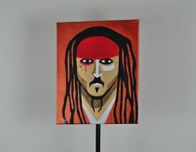 captain jack sparrow POP ART original painting neon colurs