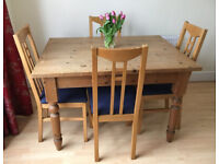 PINE DINING TABLE & CHAIRS. 4' X 3'. TURNED LEGS + 4 RENNIE MACKINTOSH INSPIRED CHAIRS