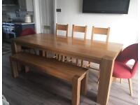 New Hampton solid oak dining table and chairs