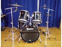 Black Premier APK drum kit with Premier chrome snare drum & Premier hardware.