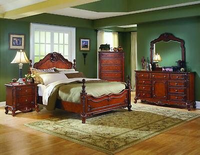 Bed Nightstand Dresser Mirror Chest - FABULOUS 5 PIECE QUEEN PANEL BED NIGHTSTAND DRESSER MIRROR & CHEST BEDROOM SET