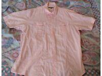 Mens Short Sleeve Pink Casual Shirt Size XL Summer