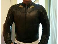 Leather motorbike jacket with armour